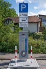 Die neue Ladesäule der Rother Stadtwerke in der Friedrich-Ebert-Str. am 27.07.2020. Foto: Tobias Tschapka