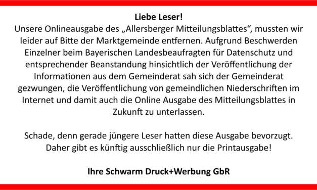 Keine Onlineausgabe Allersberg mehr!